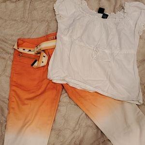 Crest Jeans 3/4 Length Orange and White  Z001